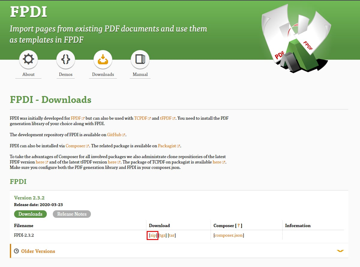 FPDI 公式サイト 画面